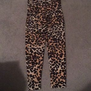 LEGGINGS L PANTS ANIMAL PRINT BROWNS STRETCHY NEW